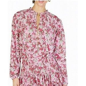 New Michael Kors pink floral chain tie neck blouse